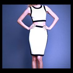 A Lyst!  Bailey 44 sleeveless crop top & skirt! Gently used! White with black trim. Crop top & pencil skirt. The top is size small & the skirt is size medium. 61%rayon 35% nylon, 4%spandex. Dry clean only! Bailey 44 Skirts Skirt Sets