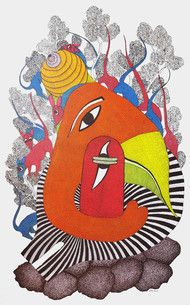 Check out in Painting in Acrylic on Canvas by Durgesh Marawi of price Rs.39000 (22 X 36 In)  Durgesh Marawi is a Gond artist who started painting professionally in 2011, after spending 6 years with his aunt Durga Bai, who is also a Gond artist. He likes doing black and white paintings and paints various themes such as nature, traditional stories and rituals and imaginary Gond creatures. These vibrant tribal paintings from central India depict local flora, fauna, Gods, festivals, rituals and…