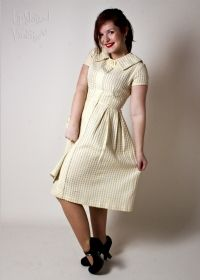 1950s Lemon Yellow Gingham Dress with Peter Pan Collar from Upstaged Vintage