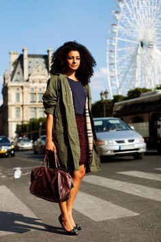 Army Green Coat - and a classic example of NOT matching shoes & handbag - maybe match the handbag with the skirt  - you want the eye to feel it works as an ensemble but doesn't look like you tried too hard.