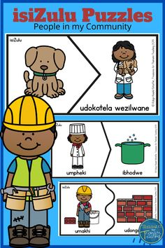 These puzzles are in the IsiZulu language. Match the person in the community to an object or vehicle that they would most likely use.