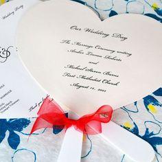 Heart Shaped Wedding Program Fans by Beau-coup