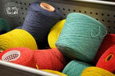 The Original Supersoft Lambswool 2/11.3Nm Yarn on the Cone in colours Marble Gemstone, Denim & Pistachio.