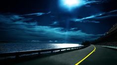 HD Ocean Clouds Night Moon Roads Download Wallpaper