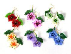 Flower Beaded earrings Small earrings Handmade earrings Pink earrings Funny earrings Dangle e. Small Earrings, Pink Earrings, Seed Bead Earrings, Flower Earrings, Dangle Earrings, Beaded Earrings Patterns, Beading Patterns, Beading Projects, Bead Jewellery