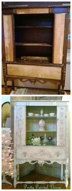 The before an after of a 1920's china cabinet.