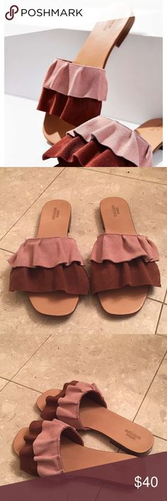 Urban Outfitters Suede Ruffle Slides These sandals are in MINT condition. I only wore them ONE time. Size 8! Perfect pop of color to any outfit!!! AND pretty rose color Urban Outfitters Shoes Sandals