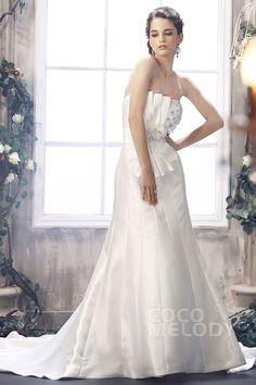 New Design Strapless Chapel Train Satin Lace Up-Corset Wedding Dress CWLT130BD#Cocomelody#weddingdresses#bridalgown#