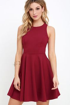 It's no mystery that the Stylish Ways Berry Red Skater Dress always look amazing! Medium-weight knit has the perfect touch of stretch throughout a rounded neckline and sleeveless, princess-seamed bodice with modified racerback. A full skater skirt flares from the fitted waist for a party-ready finish! Hidden back zipper.
