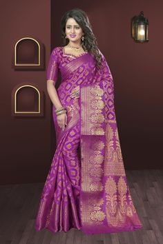 Pink Silk Jacquard Saree.