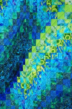 Quilt Inspiration: Twist-and-turn Bargellos: Close-up, Cosmic Twist by Eileen Wright, quilting and photo by Nadia Wilson at Nadia Wilson Designs