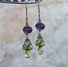 AMETHYST earrings with VESUVIANITE  and Green GARNET, woven earrings, sterling silver, purple and green