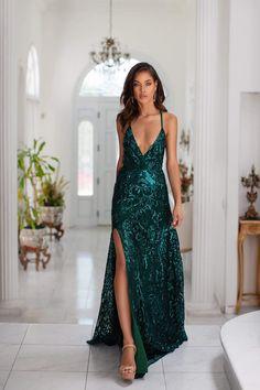 Saniya - Emerald Sequin Gown with Plunge Neckline & Criss-Cross Back Flowy Prom Dresses, Semi Formal Dresses, Grad Dresses, Formal Prom, Ball Dresses, Ball Gowns, Party Dresses, Club Dresses, African Formal Dress