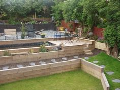 railway sleepers garden design tiered garden and steps