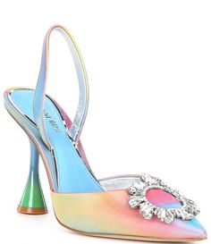 From Gianni Bini&& the Vivyee Rainbow Rhinestone Pointed Toe Pumps feature& upper with rhinestone broach detailSlip on design with slingback strapUnlinedPadded memory foam sockClear architectural heelApprox& heel heightImported& Rainbow Wedding Shoes, Rainbow Heels, Kawaii Shoes, Funky Shoes, Unique Shoes, Autumn Street Style, Pretty Shoes, Dream Shoes, Gianni Bini