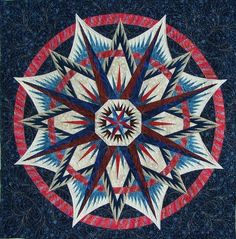 Mariner's Compass, Quiltworx.com, Made by Mary, Quilted by Sculptured Thread Quilting