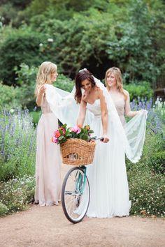 Love the natural setting, the bridesmaid's dresses, the veil -- perfection! (http://www.violetandi.com.au/)
