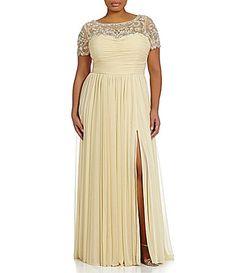 Terani Couture Plus BeadedSequin Yoke Illusion ALine Empire Gown #Dillards