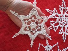 3 Large White Christmas Crochet Snow Flakes by CarolBeckDesigns, $20.00