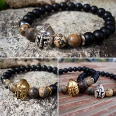 Father's Day is just around the corner. Use code Fathersday for 10% off. Helmet, gladiator, warrior charm with matte black onyx beaded bracelet for men.
