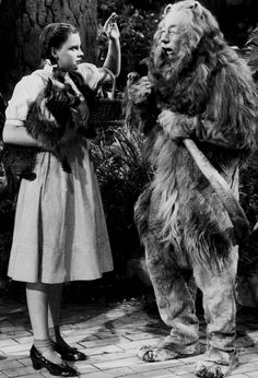 Judy Garland as Dorothy and Bert Lahr who played the Cowardly Lion prepare for another take on the set of The Wizard of Oz. Wizard Of Oz Movie, Wizard Of Oz 1939, Judy Garland, Bert Lahr, Oz Series, Cowardly Lion, Land Of Oz, Childhood Movies, Yellow Brick Road