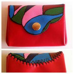 Monedero de cuero pintado a mano. Handmade painted leather coin purse. www.shimuorfebreria.com