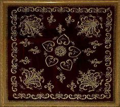 Antique Turkish Textile. Ottoman Embroidery on velvet with gold thread.  Ottoman Dynasty  1453-1922A.D