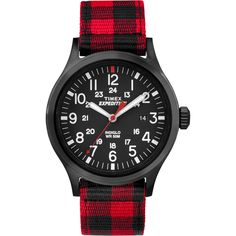 Timex Expedition Scout Metal - Red Buffalo Checker Nylon Strap/Black Dial
