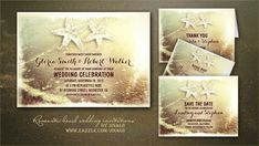 Modern and fancy seaside summer beach wedding invitations with starfish couple and sparkling sunset in the sea wave. Romantic sea foam beach wedding invite or perfect wedding suite for your tropica...
