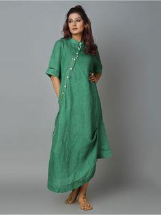 Teal Green Linen Cowl Dress Frock Fashion, Street Hijab Fashion, Fashion Outfits, Linen Dresses, Cotton Dresses, Kurta Neck Design, Designs For Dresses, Western Dresses, Draped Dress