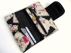 Womens wallet Black Eiffel tower Pink roses by LuckyCatHandmade, €26.00