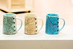 mugs. Creative with Clay Charan Sachar Pottery at Eureka Crafts, Syracuse, NY
