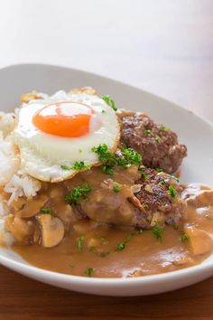 Tender, flavorful hamburger, fried shallots and a mushroom pan-gravy take this Loco Moco to another level. Loco Moco, Asian Recipes, Beef Recipes, Cooking Recipes, Hawaiian Recipes, Albondigas, Me Time, Ground Beef, Entrees
