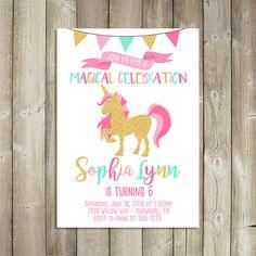Unicornio cumpleaños invitación - mágica celebración - archivo Digital