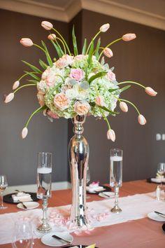 Elegant and classy tulip and pomander style table top arrangement    Photography by julia-franzosa.com, Event   Floral Design by pistilandvine.com