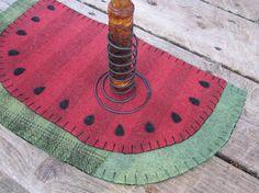 Watermelon slice wool penny rug