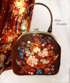 Купить Сумка Летние сумерки валяная из шерсти с платком - ярко-красный, цветочный, сумка валяная