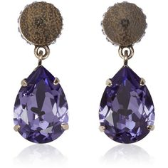Givenchy Cone pendant earrings in wood and crystal (995 CAD) ❤ liked on Polyvore featuring jewelry, earrings, givenchy, accessories, purple, clear crystal earrings, wooden pendant, wood earrings, crystal pendant and purple stud earrings