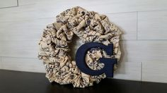 Vintage Postage Cotton Material Wreath with Monogram Letter Letter Wreath, Homemade Wreaths, Monogram Letters, Burlap Wreath, Bows, Lettering, Flowers, Cotton, Vintage