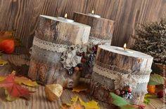 Egy sor fa gyertya, egy meleg őszi hangulat, és egy bizonyos árnyalatú nosztalgia ... lakberendezés vagy a kertben ... a hangulat .... emlékek ....