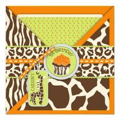 Orange Safari Giraffe  Cupcake First Birthday Invitations