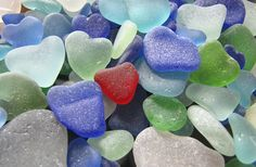 Sea glass hearts