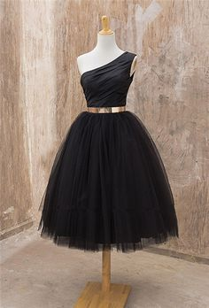 One Shoulder Homecoming Dress,Black Homecoming Dresses,Tulle Homecoming Dress,Green