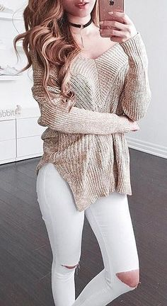 #christmas #fashion /  Tan Knit + Destroyed Skinny Jeans