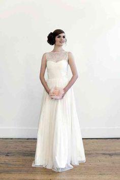 classic modified a line wedding dress lace illusion neck