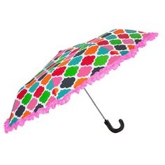 Perfect for the preppy girl on a rainy day! Multicolored geometric umbrella featuring a pink ruffled trim.