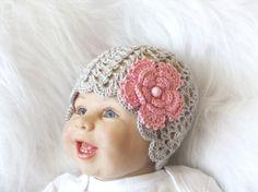 Crochet Baby hat  Baby girl Hat  Baby Flower by HandmadebyInese