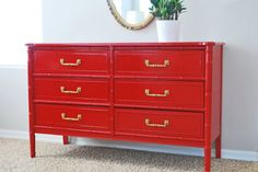 Red 6 drawer Bali Hai dresser