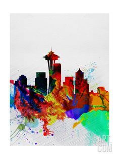 Seattle Watercolor Skyline 2 Art Print by NaxArt at Art.com