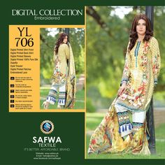 YL706 - SAFWA DIGITAL - YOLO COLLECTION - EMBROIDERED - THREE PIECE SUIT - COTTON & SILK  #safwa #womenclothing #onlineshopping #shoponline #ladiesclothing #Affordable #Better #dresses #Brand #safwapk
